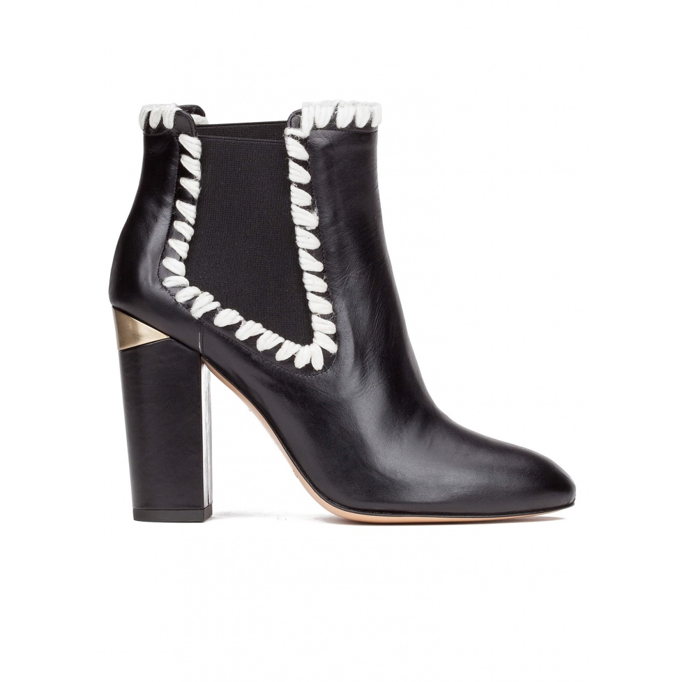 Elasticated high block heel ankle boots in black leather