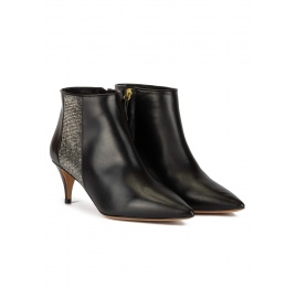 Mid heel point-toe ankle boots in black leather with strass Pura López