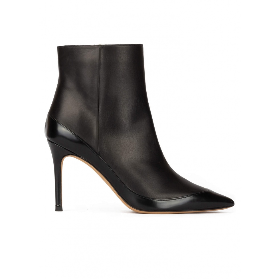 Black leather high heel pointed toe ankle boots