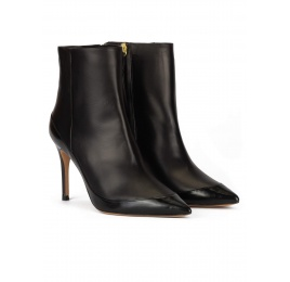 Black leather high heel pointed toe ankle boots Pura López