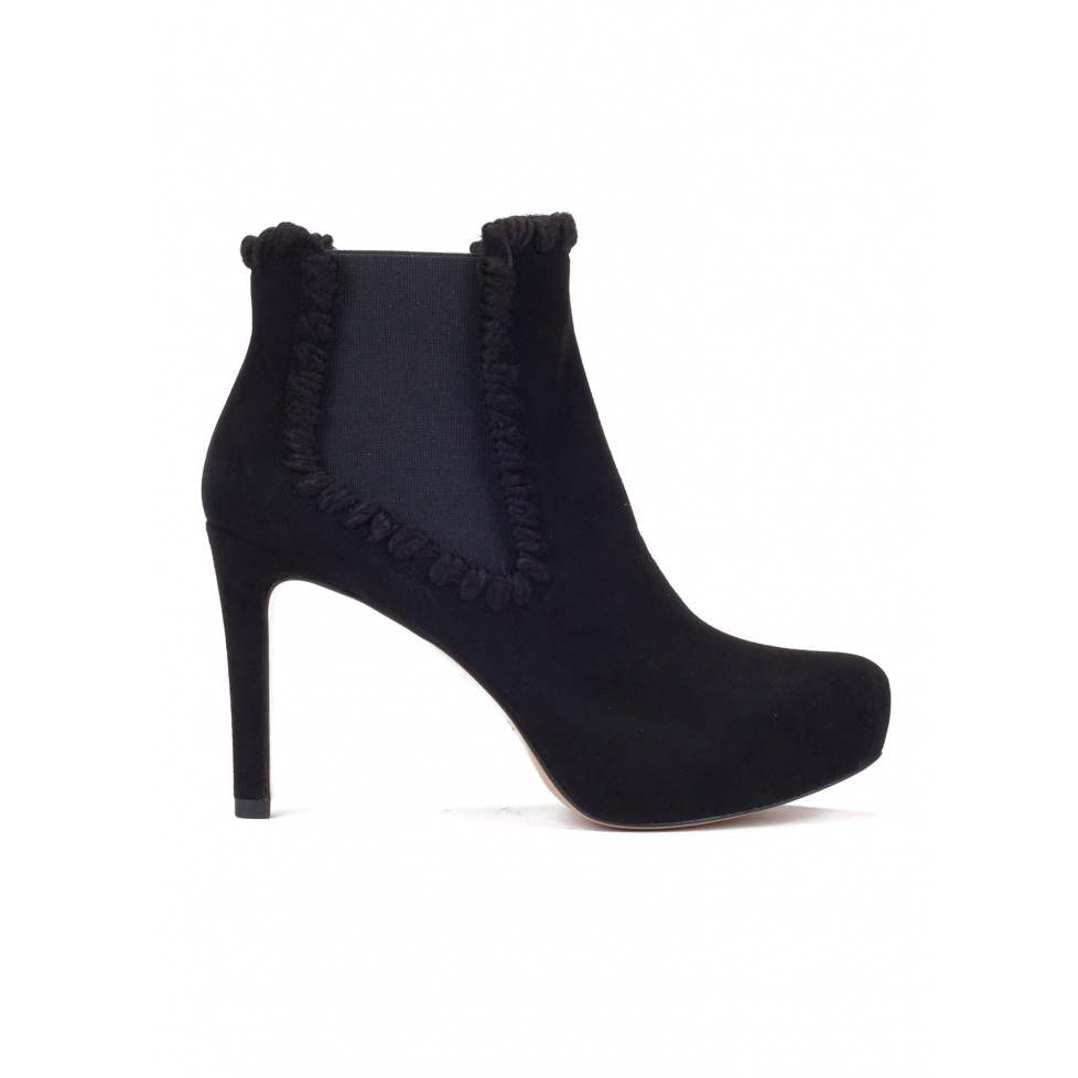 Elasticated mid heel ankle boots in black suede
