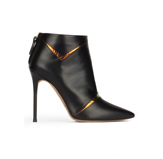 High heel point-toe ankle boots in black leather with metallic detail Pura López