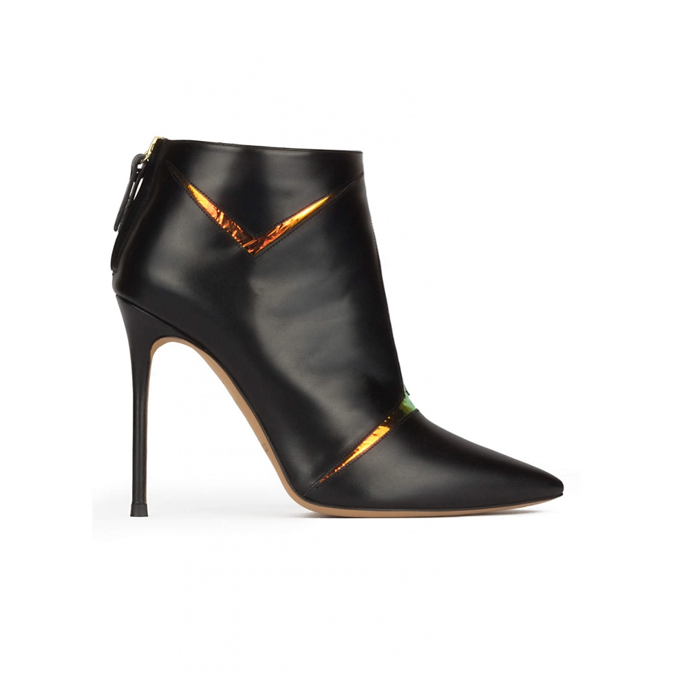 High heel point-toe ankle boots in black leather with metallic detail
