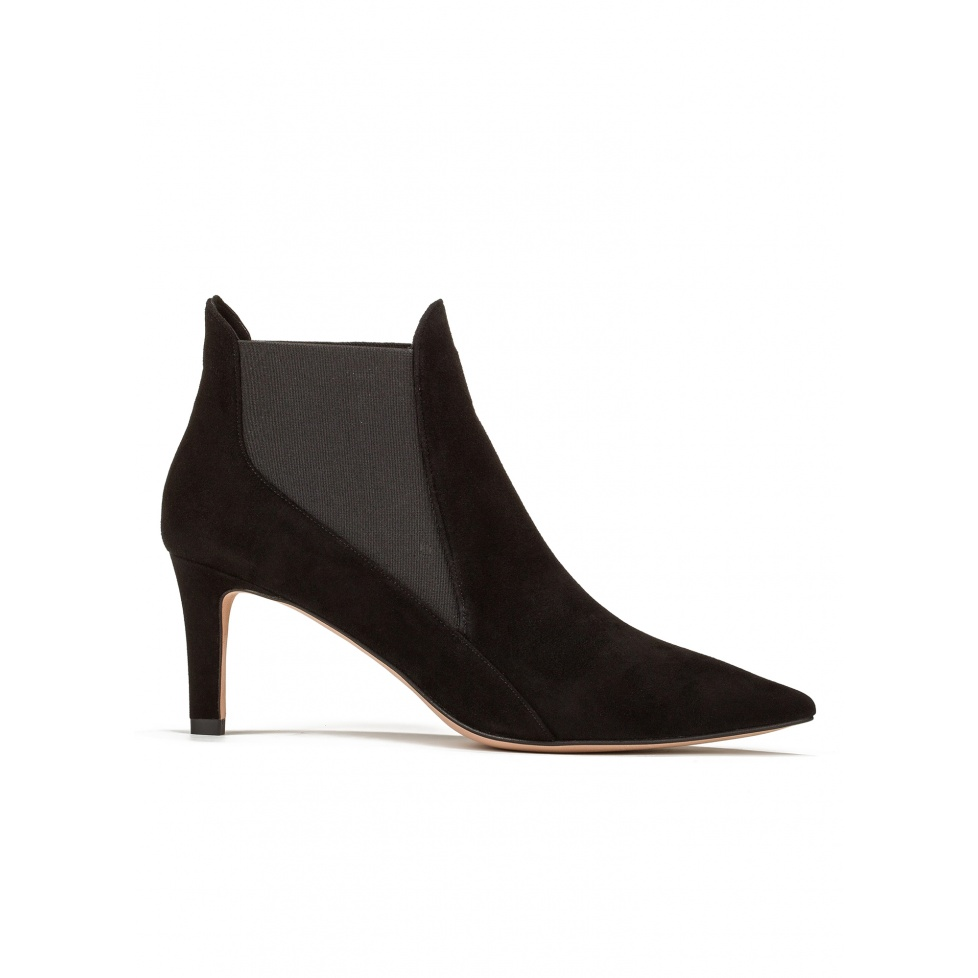 Mid heel ankle boots in black suede