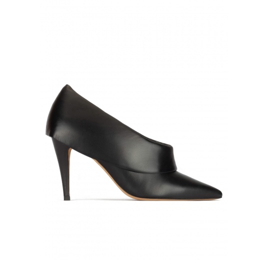 Black leather high heel shoes with folded panels Pura López