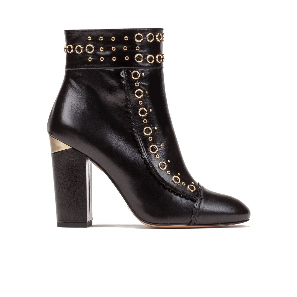Studded high block heel ankle boots in black leather