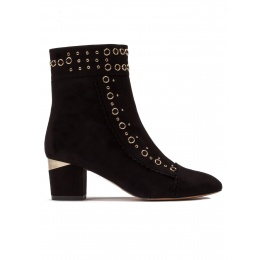 Studded mid heel ankle boots in black suede Pura López