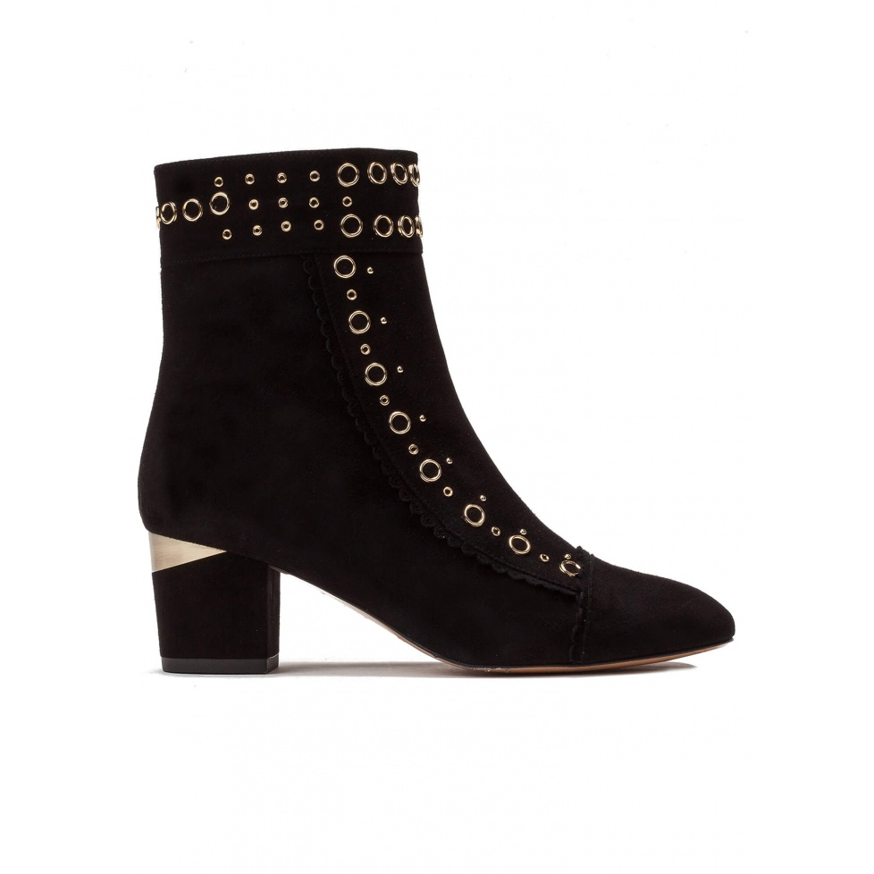 Studded mid heel ankle boots in black suede