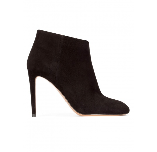 High stiletto heel ankle boots in black suede Pura López