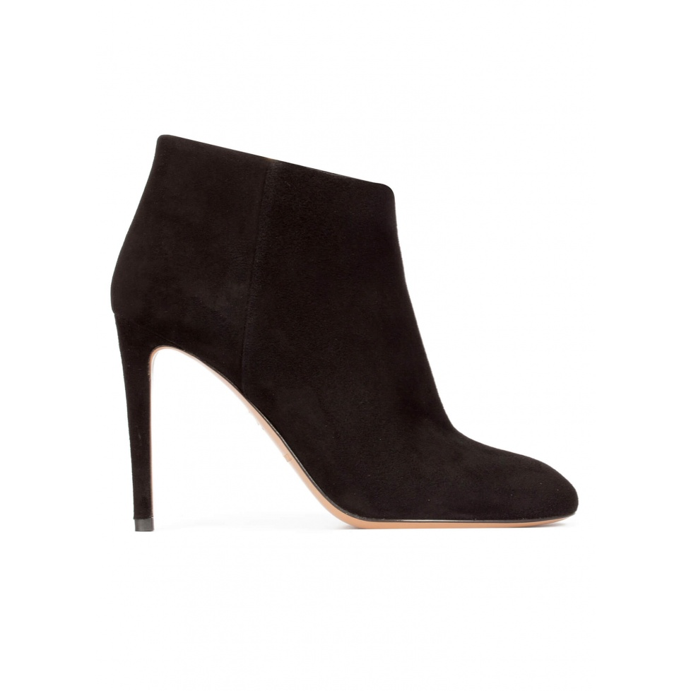 High stiletto heel ankle boots in black suede