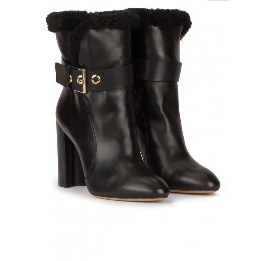 High block heel ankle boots in black nappa with black fleece cuf Pura L�pez