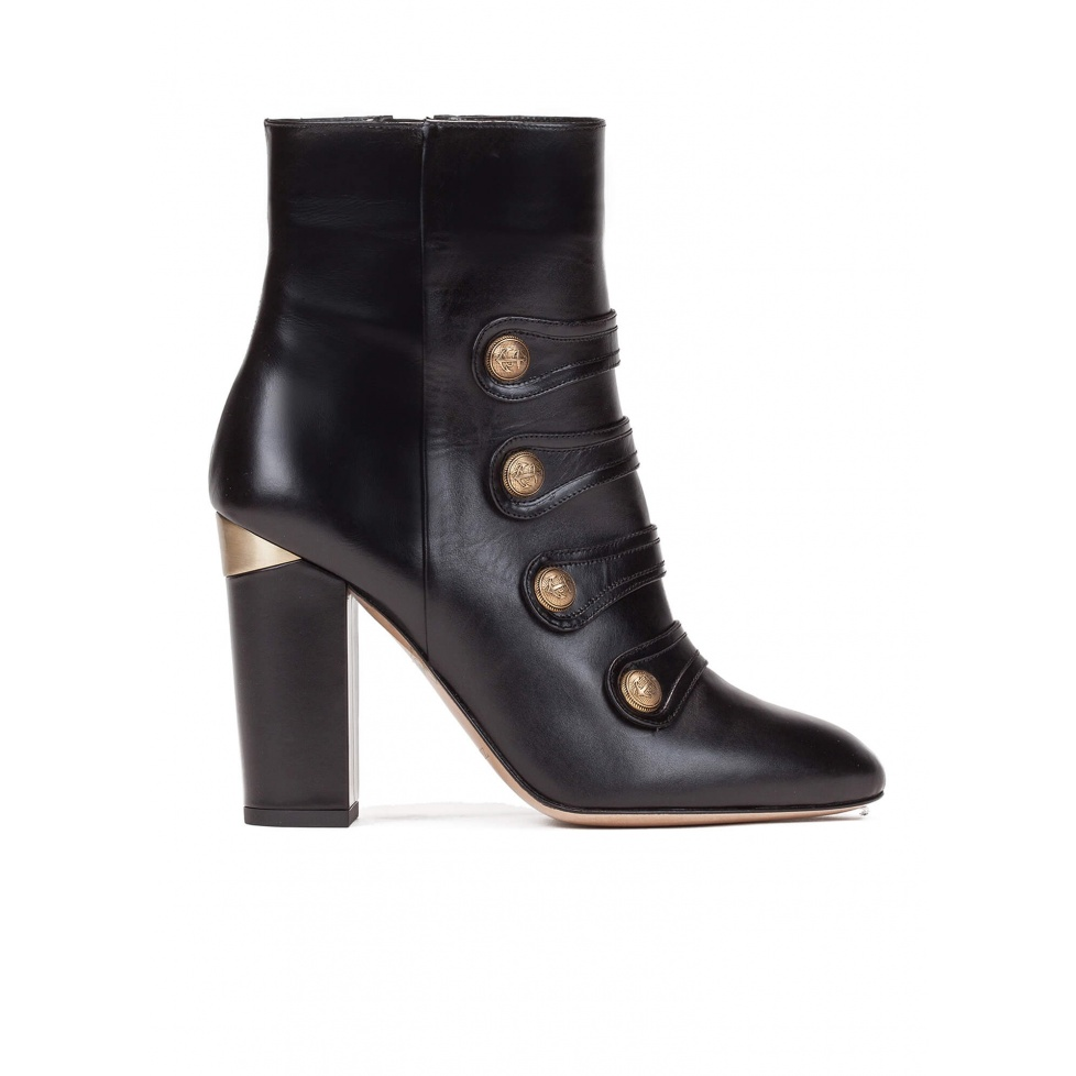 High block heel ankle boots in black leather