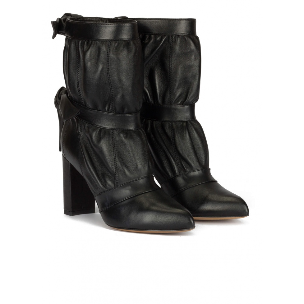 High block heel pointed toe ankle boots in black nappa