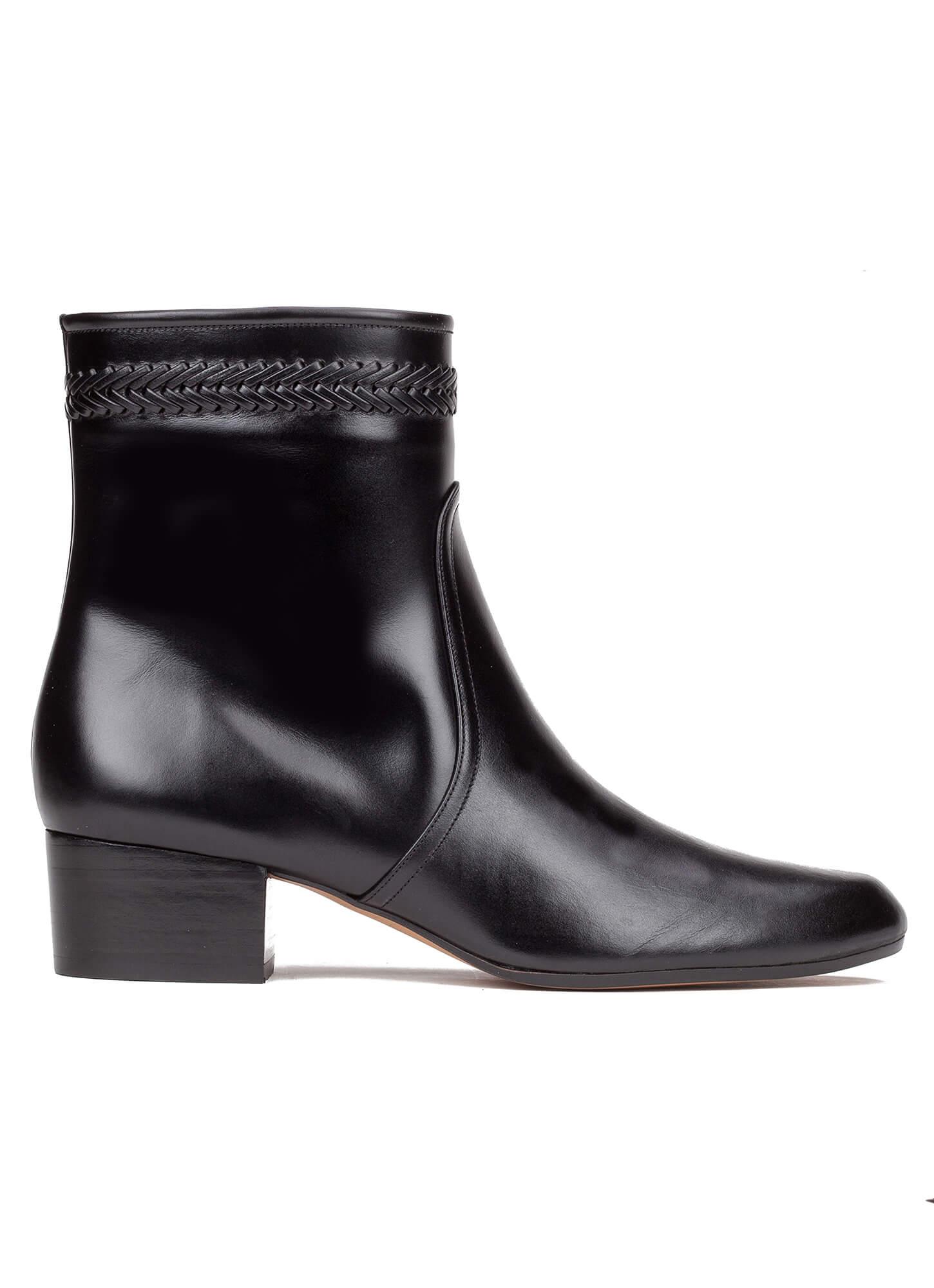 d65c5533c9827 ... online shoe store Pura Lopez. Lara Pura López. Braided detail low heel  ankle boots in black leather ...