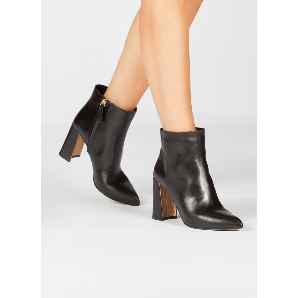 Black leather high block heel ankle boots