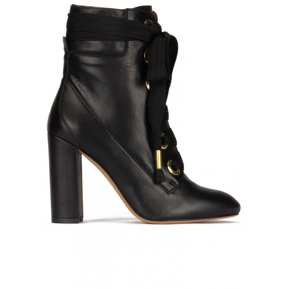 Black leather lace-up high block heel ankle boots