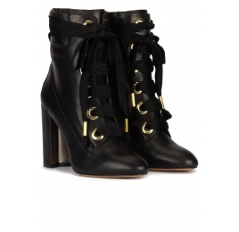 Black leather lace-up high block heel ankle boots Pura López