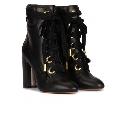 Black leather lace-up high block heel ankle boots Pura L�pez