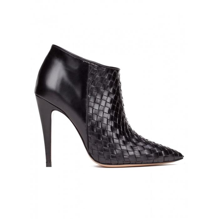 High heel ankle boots in black leather