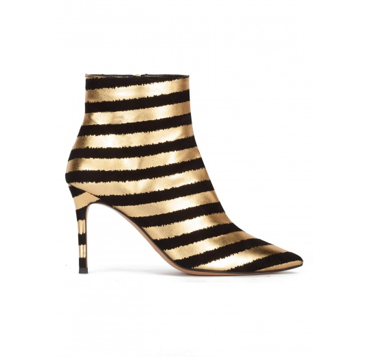 Striped heeled point-toe ankle boots in black and gold printed suede Pura L�pez