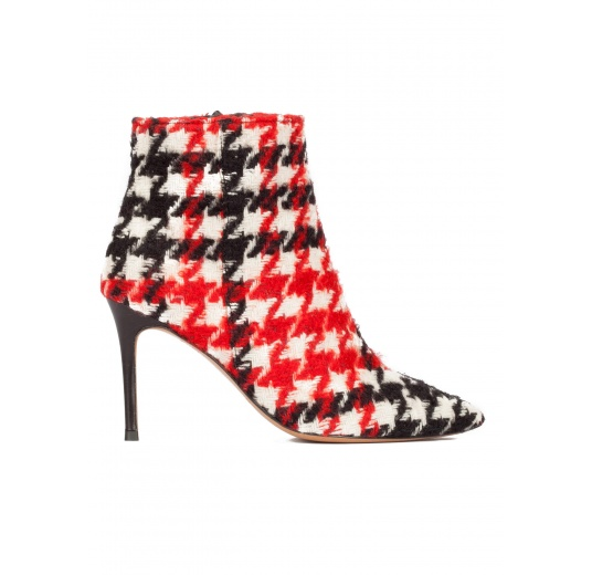 High heel pointy toe ankle boots in houndstooth fabric Pura L�pez