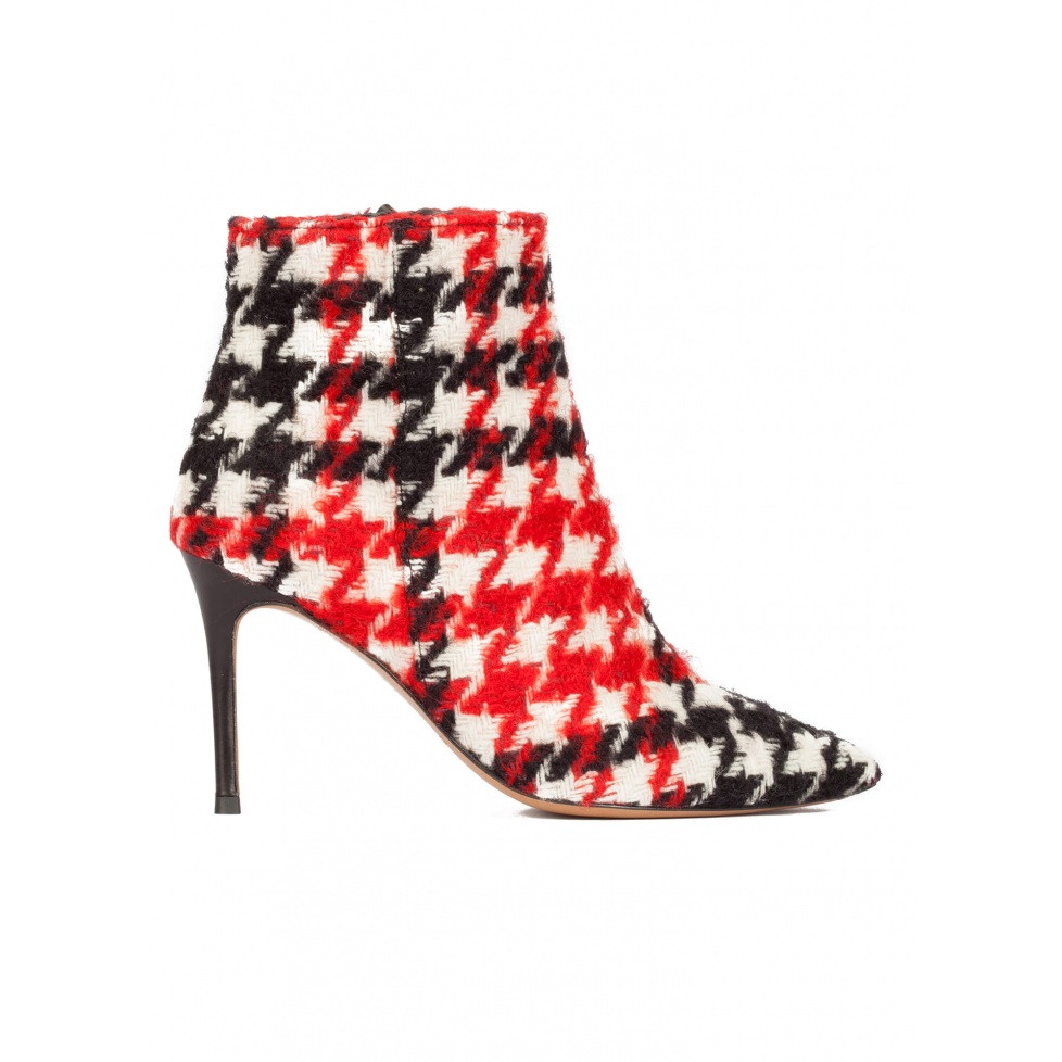 High heel pointy toe ankle boots in houndstooth fabric