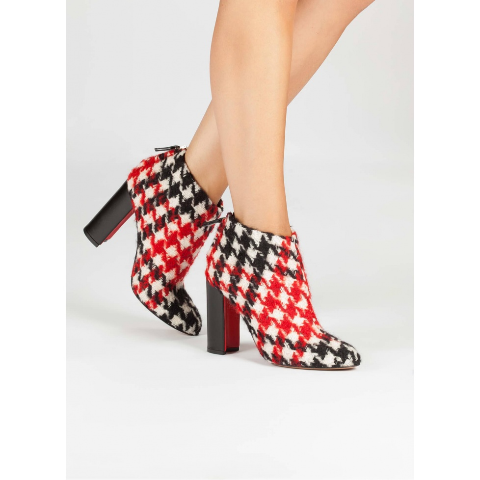 Houndstooth fabric high block heel ankle boots