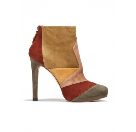 High heel ankle boots in multicolored suede Pura López