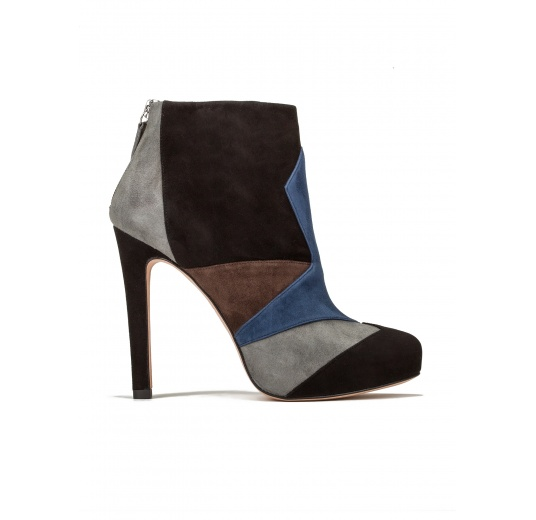 High heel ankle boots in multicolored suede Pura L�pez