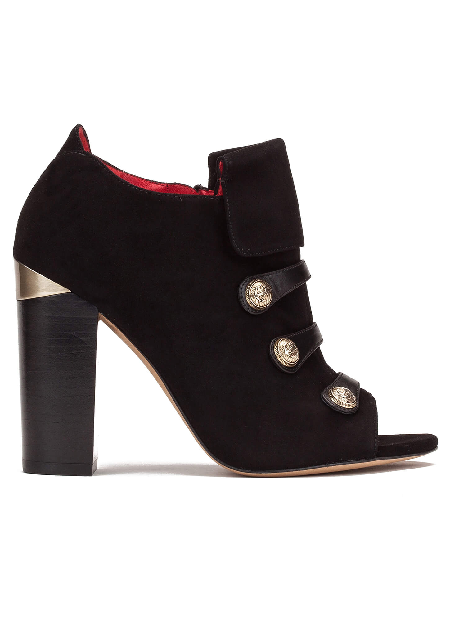 308d7dabfc762 High block heel ankle boots in black suede and leather with metallic  buttons ...