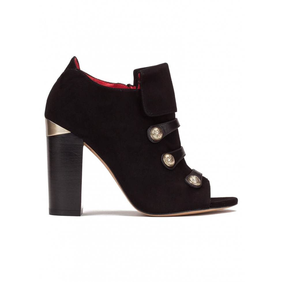 High block heel ankle boots in black suede and leather with metallic buttons