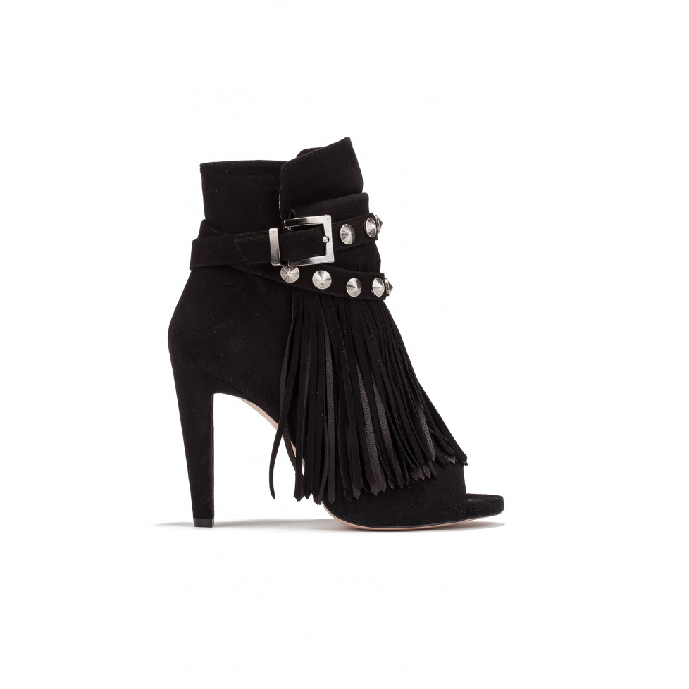 High heel ankle boots in black suede