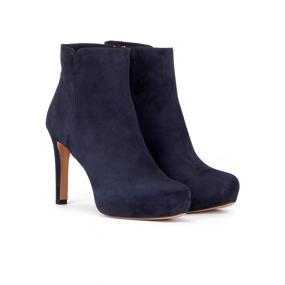 Mid heel ankle boots with concealed platform in navy suede