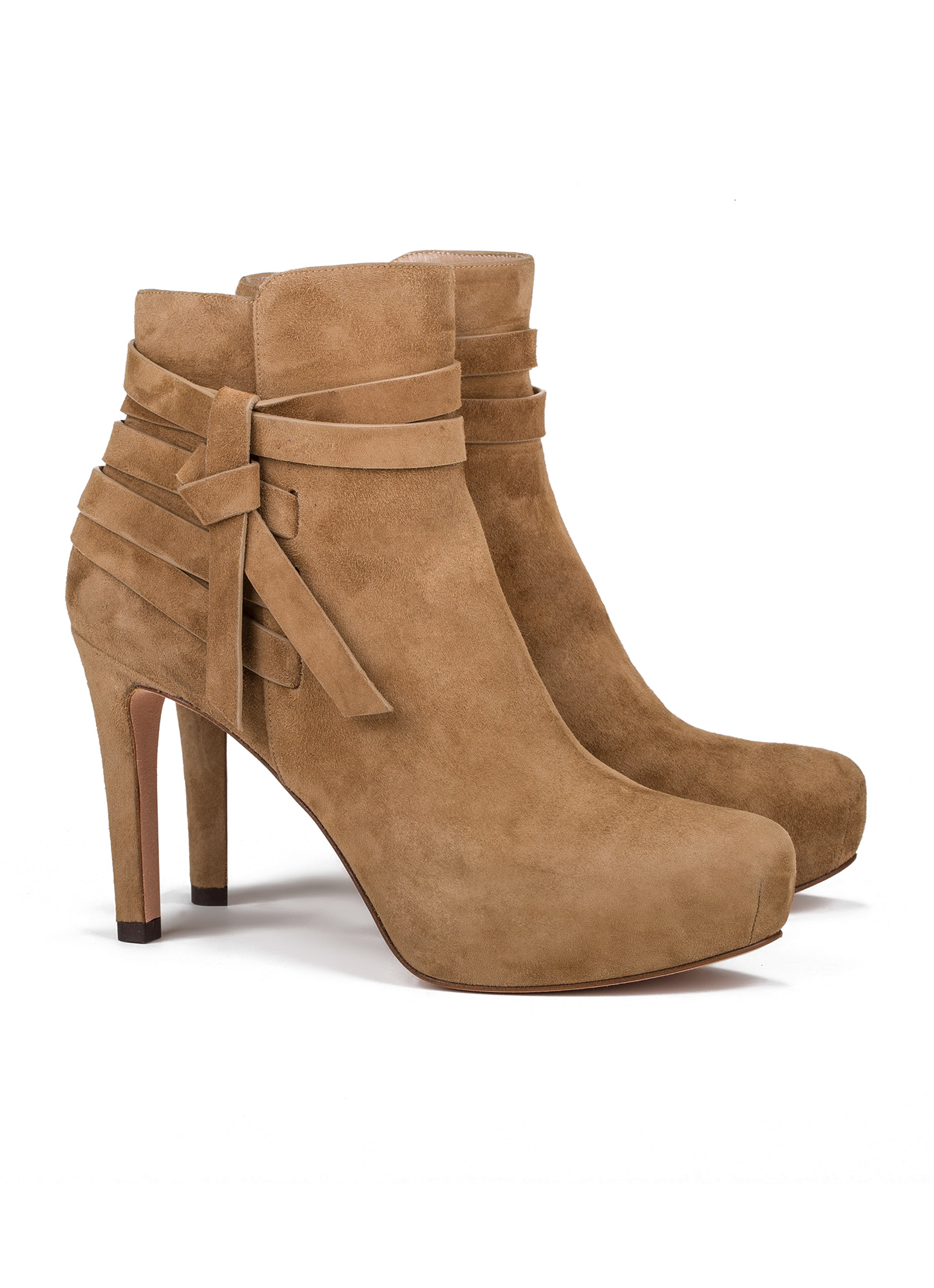 Mid Heel Ankle Boots In Camel Suede Online Shoe Store