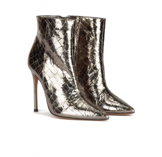 Silver croc-effect leather high heel point-toe ankle boots Pura L�pez