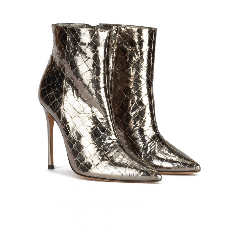Silver croc-effect leather high heel point-toe ankle boots