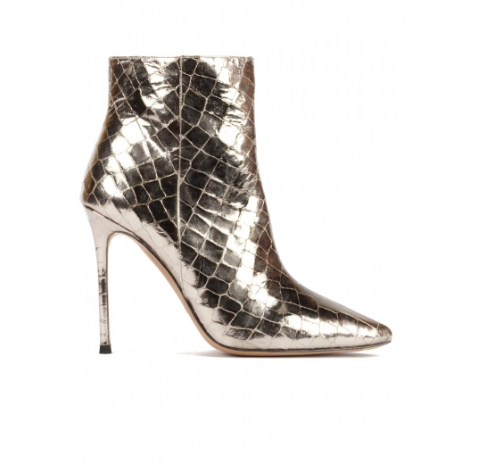 Silver croc-effect leather high heel point-toe ankle boots Pura López