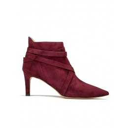 Mid heel ankle boots in burgundy suede Pura López