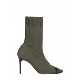 Khaki green ribbed-knit heeled point-toe ankle boots Pura López