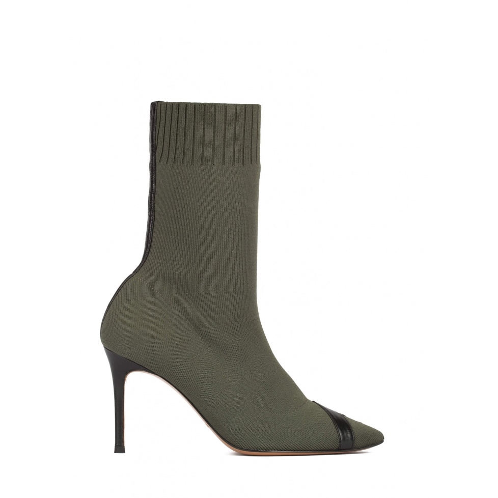 Khaki green ribbed-knit heeled point-toe ankle boots