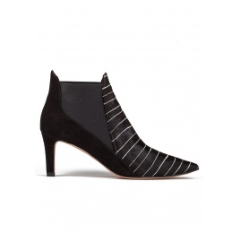 Mid heel ankle boots in pinstripe Pura López