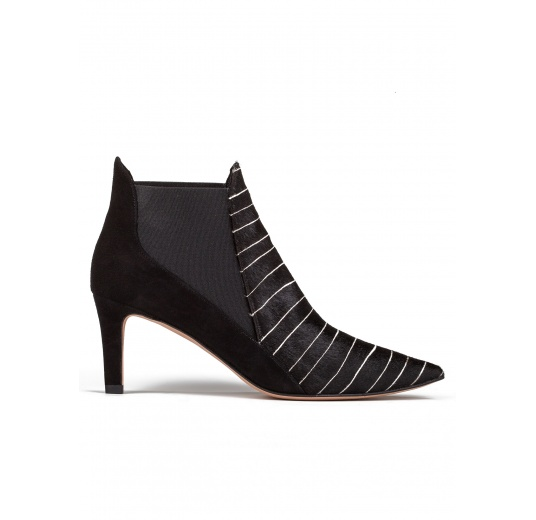 Mid heel ankle boots in pinstripe Pura L�pez