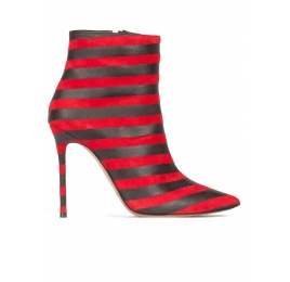 Striped high heel pointy toe ankle boots in red and black suede Pura López