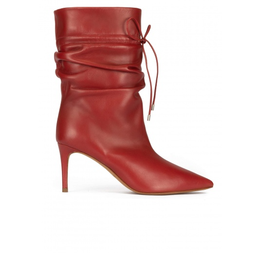 Slouchy mid heel point-toe ankle boots in red tile leather Pura L�pez