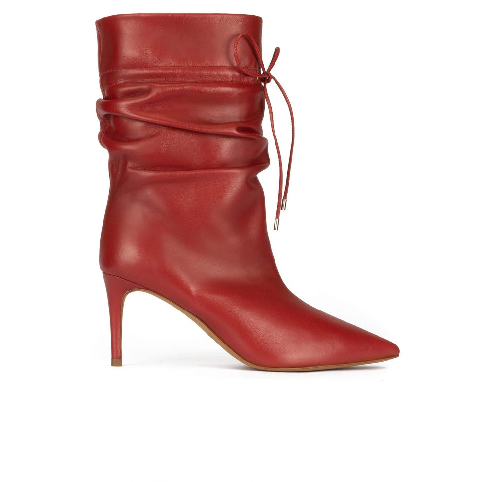 Slouchy mid heel point-toe ankle boots in red tile leather
