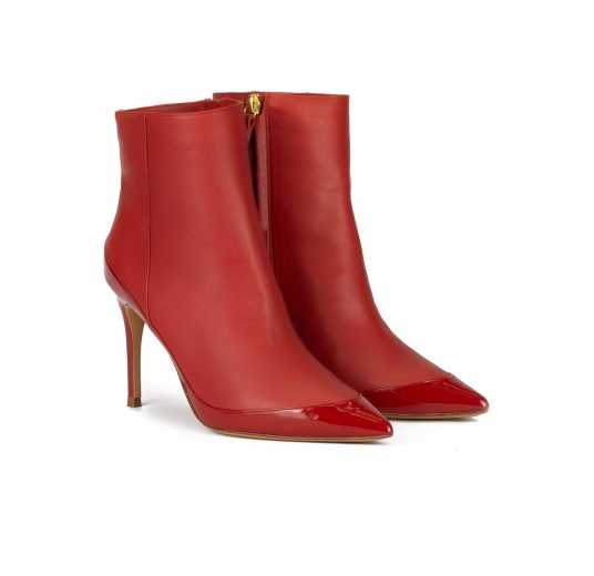 High heel pointed toe ankle boots in tile red leather Pura L�pez