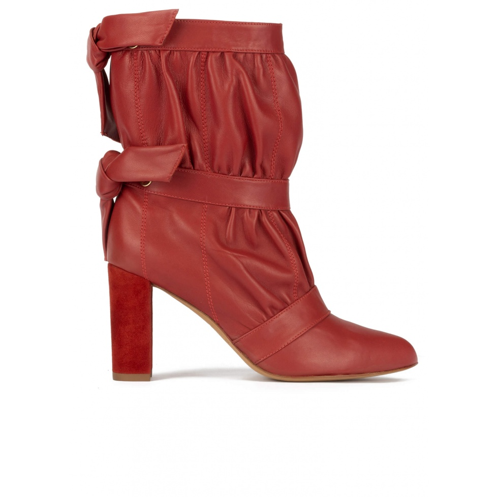 High block heel pointy toe ankle boots in tile red leather