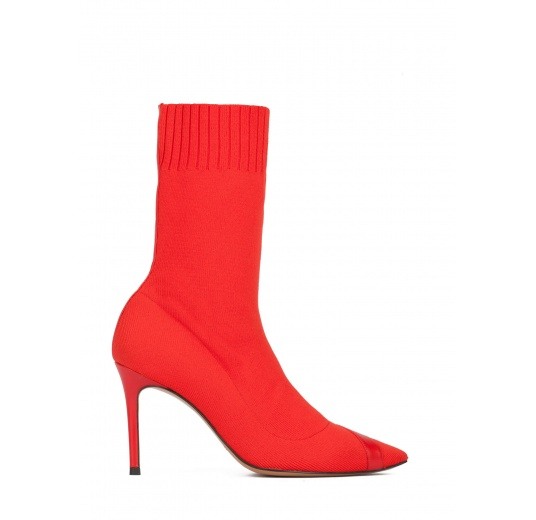 Red ribbed-knit high heel pointy toe ankle boots Pura L�pez