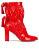 High block heel point-toe ankle boots in red patent