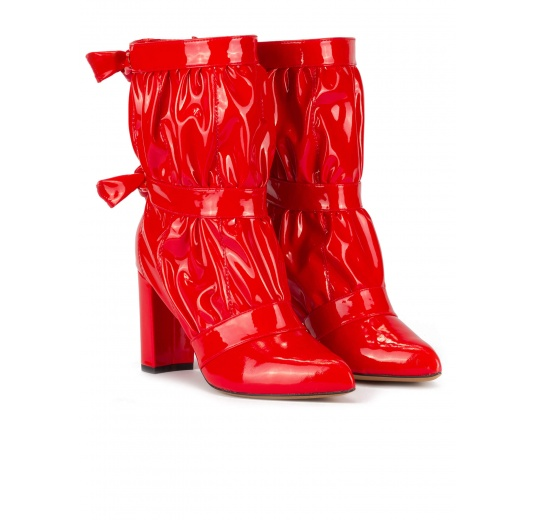 High block heel point-toe ankle boots in red patent Pura L�pez